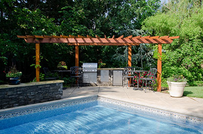 Patio pergola and kitchen